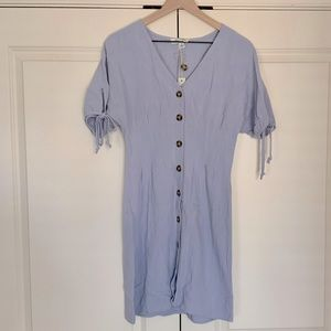Light Blue Button Up Dress with Tie Sleeves